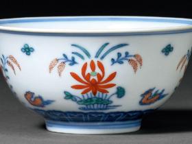 清嘉庆斗彩鸳鸯荷塘图小碗成交价(人民币):34,500