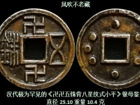 汉代极为罕见的《卍卍五铢背八星纹式小平》银母鉴赏