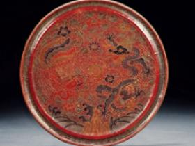 明•彩漆戗金龙凤纹铜镜价格