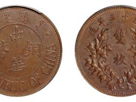 民国十三年察哈尔中华铜币双枚试样币价格