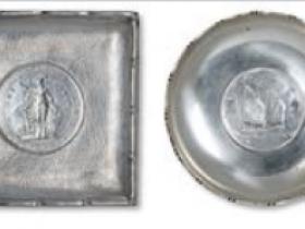 清代民国镶1902年站洋壹圆银币方形银盘