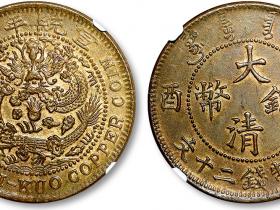 宣统年造己酉大清铜币当制钱二十文铜元