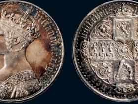 1847年英国维多利亚哥特式皇冠女王像银币
